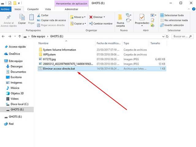 pegar repara ficheros en la raíz de la usb