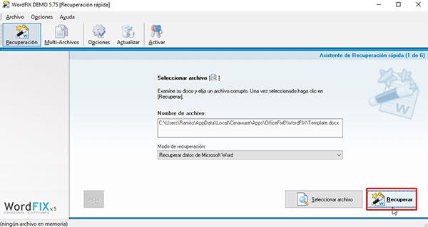 herramienta para recuperar archivo de word dañado