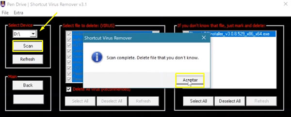 eliminar virus acceso directo pendrive