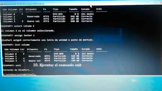 Salir de la opción diskpart y de la ventana de comandos