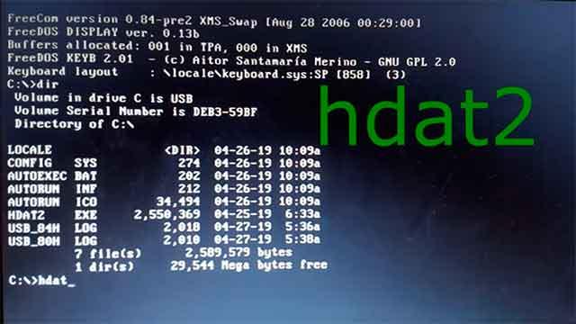 cargar el programa HDAT2