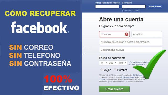 como recuperar cuenta de facebook sin correo y sin número