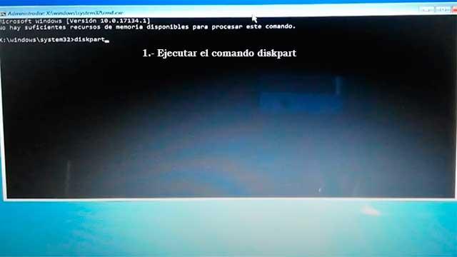 ejecutar el comando diskpart para reparar windows