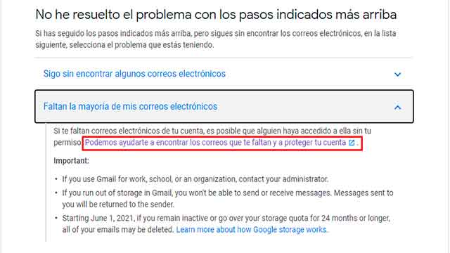 recuperar correos eliminados gmail