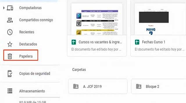 recuperar archivos eliminados de google drive