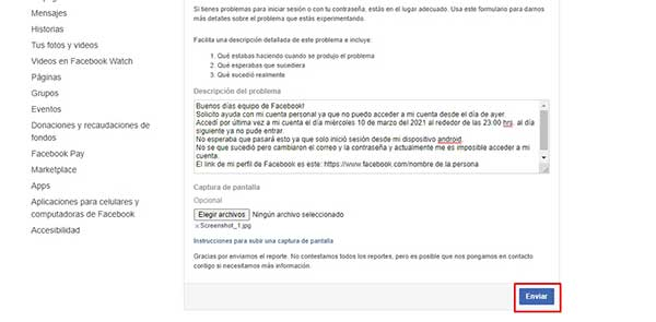 recuperar una cuenta de facebook hackeada