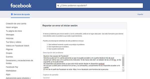 reportar un error al iniciar sesion facebook