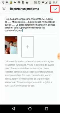 reportar un problema para recuperar tu cuenta de instagram