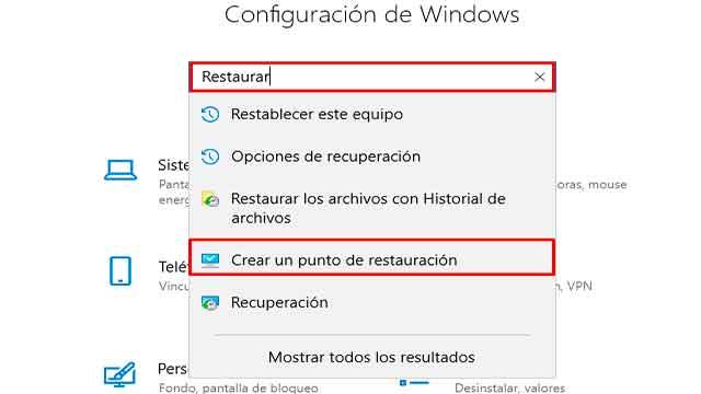 restaurar windows 10 a una fecha anterior